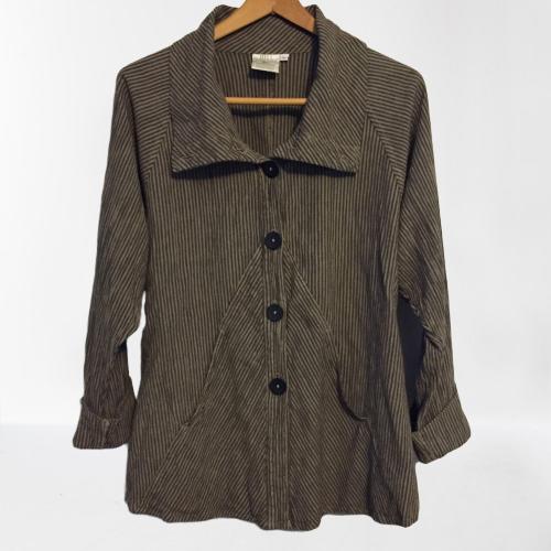 Mill Valley Clothing Company M Medium Lagenlook Cowl Neck Jacket Top Linen Blend