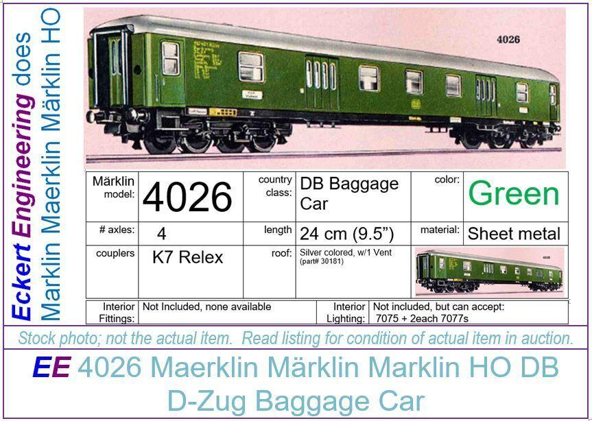 EE 4026 EXC Maerklin Märklin Marklin HO Green DB Baggage Car (V4026.3) OBX