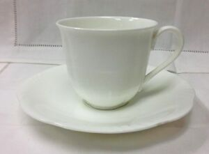 villeroy boch arco weiss teacup saucer white bone china new germany ebay. Black Bedroom Furniture Sets. Home Design Ideas