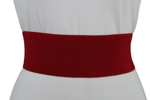 New Women Red Elastic Fabric Western Fashion Belt Silver Buckle Plus Size M L XL