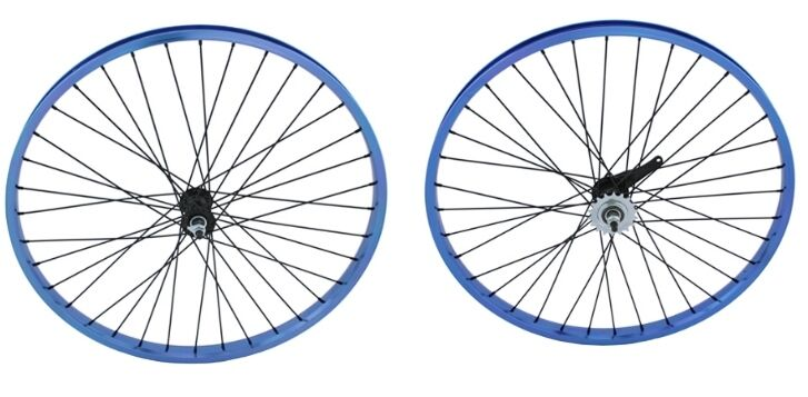 Beach Cruiser Bicycle 26 x2.125 Heavy Duty 12g Alloy Front & Rear Wheels bluee