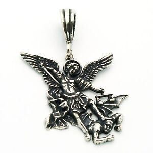 Sterling silver san miguel arcangel st michael archangel pendant image is loading sterling silver san miguel arcangel st michael archangel aloadofball Choice Image