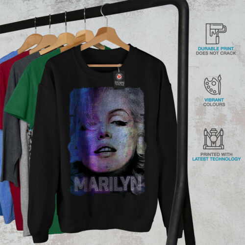 Hommes Celebrity Sweatshirt Noir Marilyn Monroe Nouveau 80vwNnm