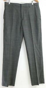 Banana-Republic-Men-039-s-Tailored-Fit-Dress-Pants-Size-33-x-32-Glen-Plaid-Gray