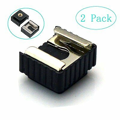 "2 Pack Camera Flash Hot Shoe Mount Adapter to 1/4"" Thread for Flash Holder Brack"