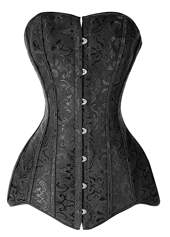 Details about  /Sexy Women gothic Steel Boned Lace up Black Corset Bustier Long Torso Size S-6XL
