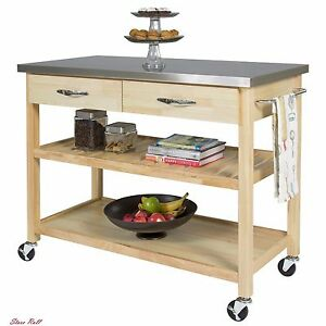 Details about Utility Cart Kitchen Islands On Wheels Stainless Steel Table  Top Restaurant New