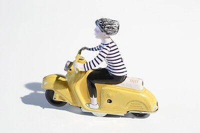 Blechspielzeug MÄdchen Auf Motorroller Stetig °° Tin Toy °° Jouet En Tôle °° gelb