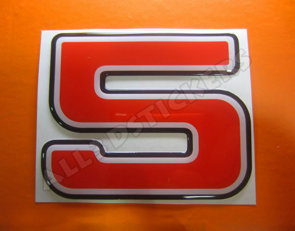 3D Stickers Resin Domed NUMBER 5 FIVE - Color Red - 75 mm(3 inches) Adhesive
