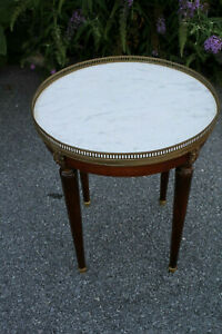 Details About Vintage French Walnut Round Marble Top Table
