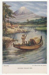 Japanese-Village-Life-Japan-Vintage-Postcard-186c