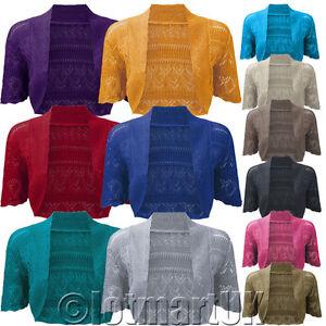 Ladies-Bolero-Shrug-Crochet-Knitted-Cardigan-Womens-Top