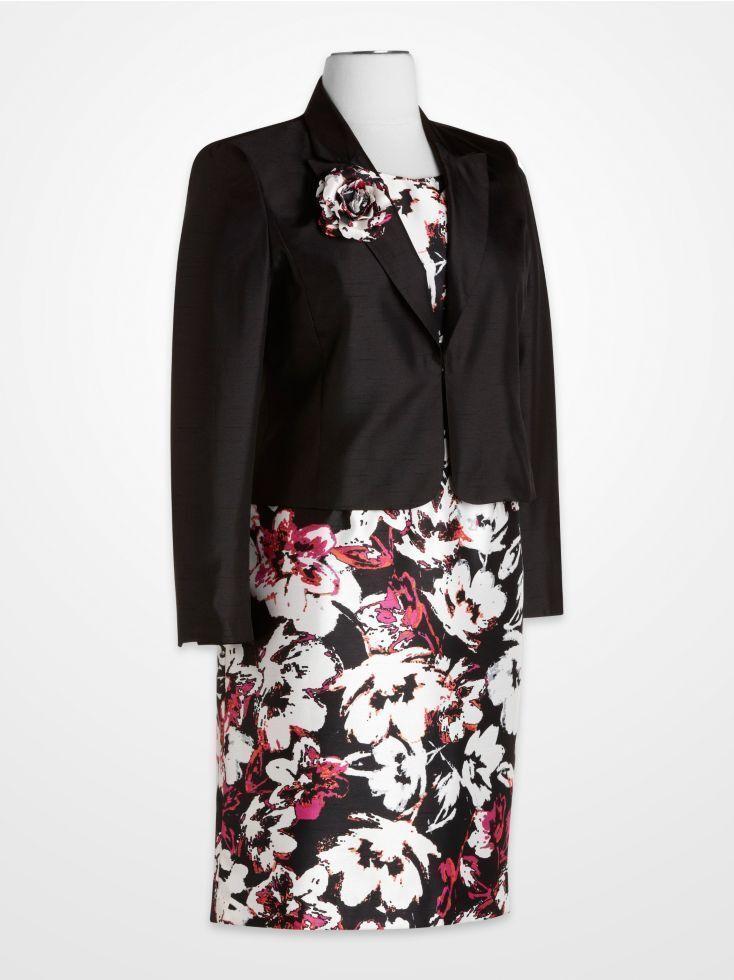 NWT- LE SUIT Größe 10 2PC Floral Dress-Suit Dress Jacket & Flower Pin New