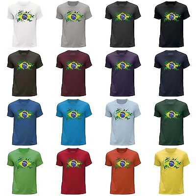 STUFF4 Men/'s Blue Round Neck T-Shirt//Brazil//Brazilian Flag Splat//SZ
