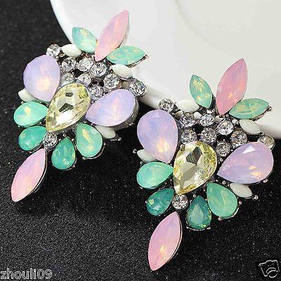 New Fashion Women Elegant Crystal Rhinestone Ear Stud silver dangle Earrings 444