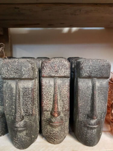 Moai Kopf Osterinseln Figur Statue 12.5x11x27cm dunkelgrau Skulptur Aufsteller !