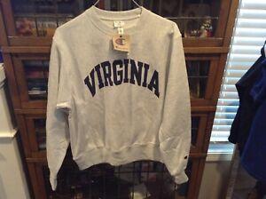 NWT University of Virginia Gray Champion Reverse Weave Crew Sweatshirt SZ S-cool