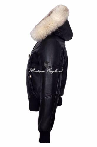 New Ladies Black Fur Hooded Leather Jacket Short Bomber Motorcycle Style 1992