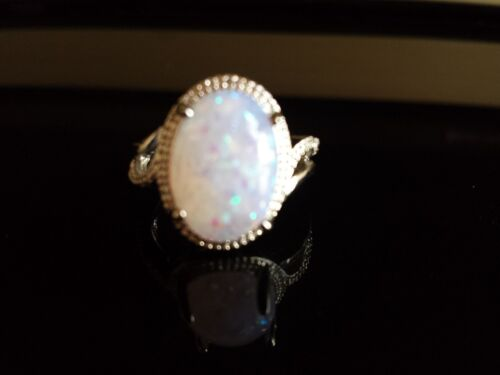 16mm Simulated Moon Stone Fire Opal 925 Silver Ring Box