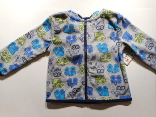 Hoodie Jackets Boys outerwear Micro fleece Hoodie Gray Dump Trucks 6//9-24 mos
