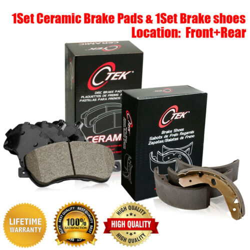 Front /& Rear Ceramic Brake Pads /& Brake shoes 2SET For Chevrolet C1500 1988 1989