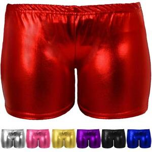 Girls Shiny Metallic Dance Shorts//Hotpants 11-13 years, Gold 4 colours