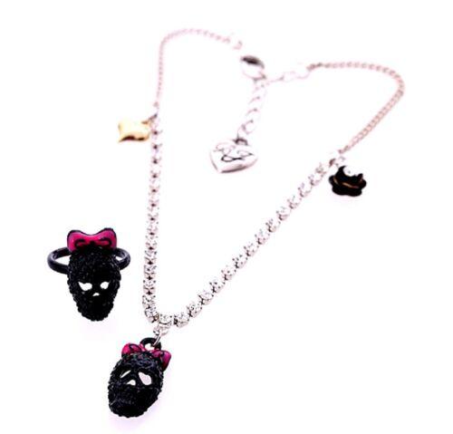 Cráneo Negro Tobillo Pulsera Tobillera Y Anillo Conjunto con corazón Cristal Rose