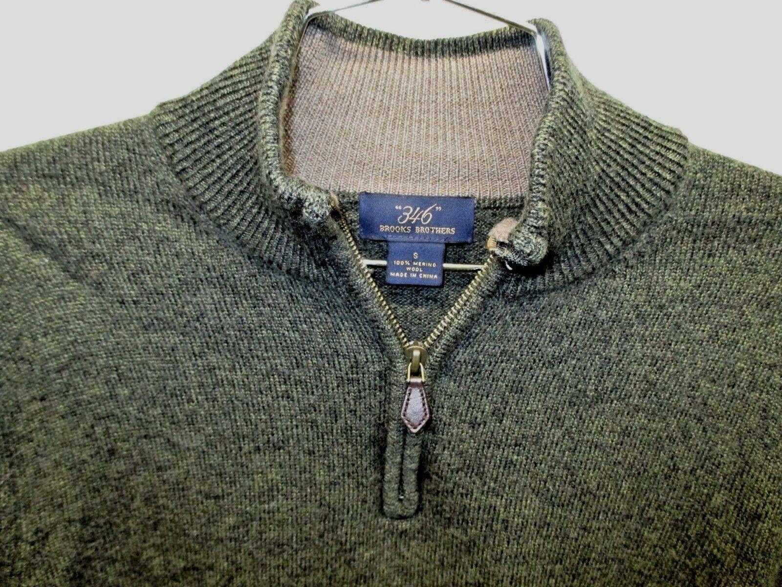 EUC  Brooks Brothers 346 100% Merino Wool Mossy Grün partial 1 4 Zipper superb