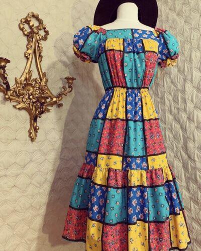 1970's Vintage Patchwork Midi Dress Small