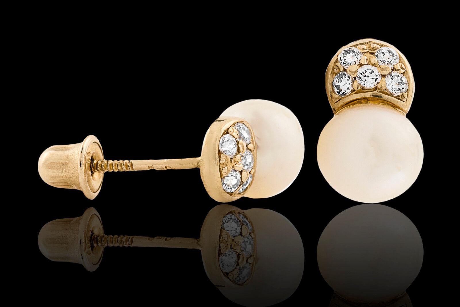 d73395c4ec825 Yellow 14K Micro Ball Pearl Genuine White Pave Box Gift w Earrings ...