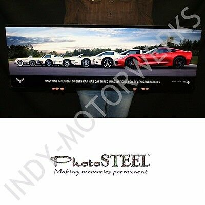 """CORVETTE GENERATIONS WALL SIGN LARGE METAL ART FULL 35"""" BY 12"""" SIGN PHOTOSTEEL"""