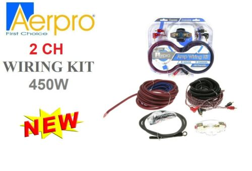 AERPRO BSX208 8 GA GAUGE 2-CHANNEL 450W AMPLIFIER WIRING INSTALLATION KIT AMP