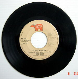 ONE-1976-039-S-45-R-P-M-RECORD-BEE-GEES-LOVE-SO-RIGHT-YOU-STEPPED-INTO-MY-LIFE