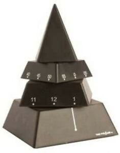 """The Museum Company 6"""" Pyramid Desk Clock, Moving Sculpture, Timepiece, Black NEW"""