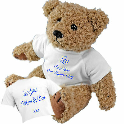 Personalised Teddy Bear for Page Boys Bridesmaids Flower Girls + Gift Bag
