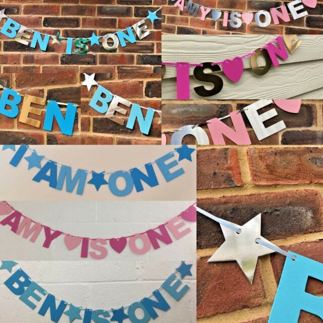 Pink bunting CAKE SMASH party decoration PERSONALISED GIRLS 1st BIRTHDAY BANNER