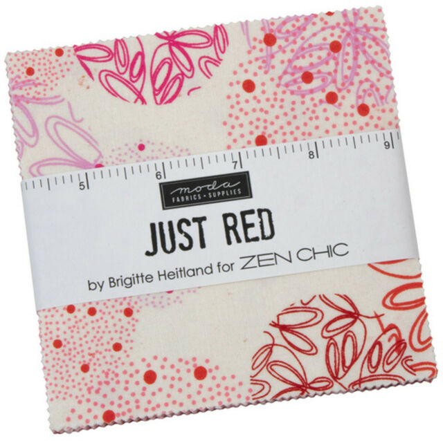 """Just Red Moda Charm Pack 42 100% Cotton 5"""" Precut Fabric Quilt Squares"""