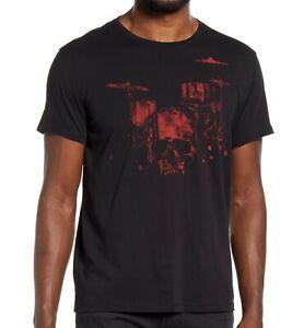 John-Varvatos-Star-USA-Men-039-s-Skull-Drum-Kit-Graphic-Crew-T-Shirt-Black