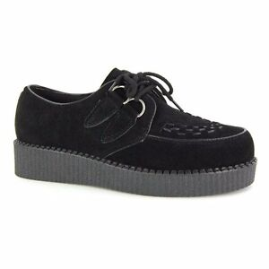 Mens-Black-Faux-Suede-Brothel-Creepers-Vintage-Retro-Punk-Shoes-Size