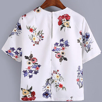 Women Summer Flower Print Short Sleeve Tops Casual O Neck Shirt Blouse White NEW
