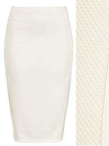 River Island Ivory Fishnet Panel Bodycon 26 Inch length Skirt