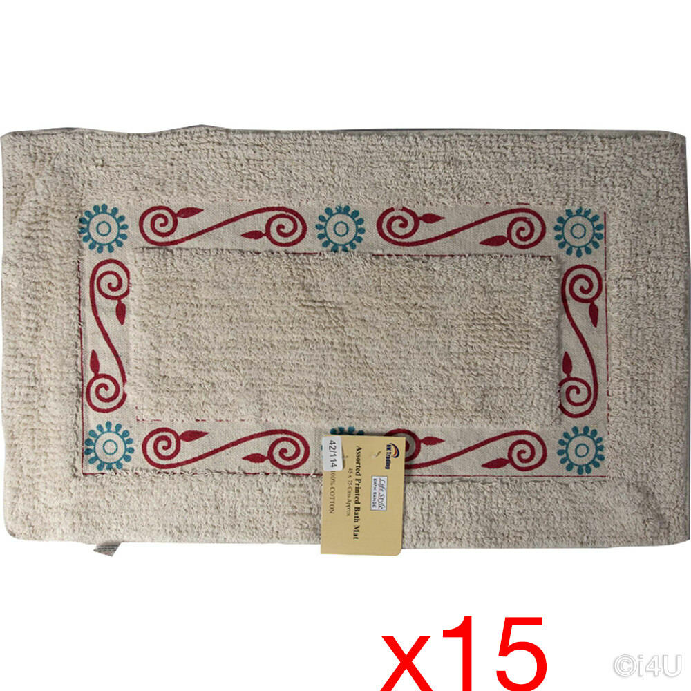 15 X BATH MAT 45X75 COTTON SOFT TUFTED CARPET DESIGN NON-SLIP RUG BATHROOM