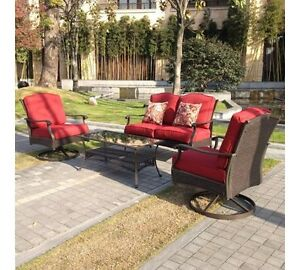 Red Cushion Brown Resin Wicker Patio Conversation Set