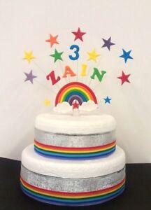 Image Is Loading Rainbow Carebear Birthday Cake Topper Decoration Personalised Name