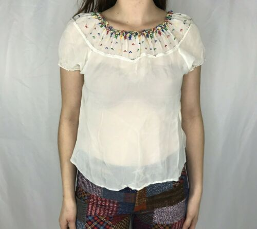 Vintage 1930s Hungarian Blouse Embroidered Folk Pe