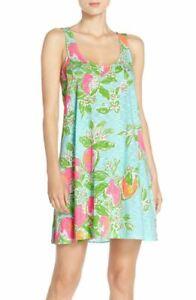 New-Lilly-Pulitzer-Carmel-Sleeveless-Tank-Dress-Green-Pink-lemonade-Printed