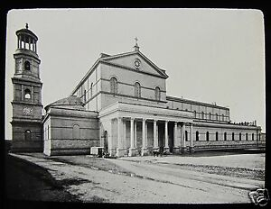 Glass Magic Lantern Slide CHURCH OF ST PAUL ROME C1890 ROMA ITALY