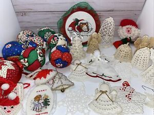 Vintage-Lot-of-32-Hand-Made-Christmas-Ornaments-Mixed-Lot-Crochet-Quilted-Etc