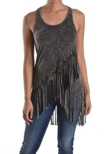 T-PARTY FRINGED MINERAL WASHED SLEEVES TOP #VRS22824 BLACK