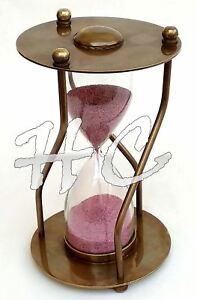 Old-Antique-Brass-Ship-Sand-Timer-Nautical-Maritime-Hourglass-With-Curved-legs